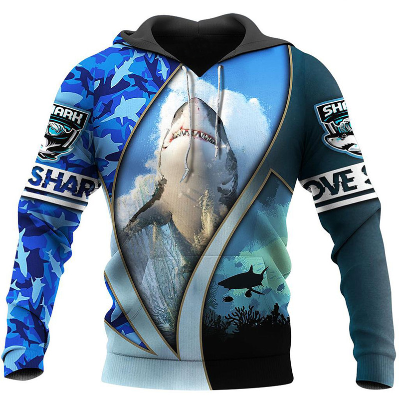New Love Shark 3D Fully Printed Hoodie Men's and Women's Fashion Sweatshirt Fall/Winter Street Casual Zipper Hoodie