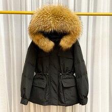 Huge Natural Raccoon Fur Hooded Winter Down Coat Women White Duck Down Jacket Puffer Coats Thick Female Parkas Outwear Oversize