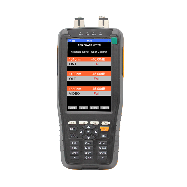 Optical PON Power Meter Fiber Cable Testing Instrument With Pass Fail Function 1310 1490 1550nm In Service Checking