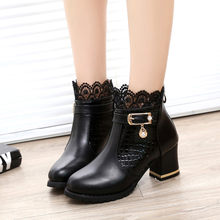 Women sexy Ladies Square root Boots Fall Winter Vintage Leather Ankle Lace Short Boots Buckle Strap Lace Shoes woman Black Boot(China)