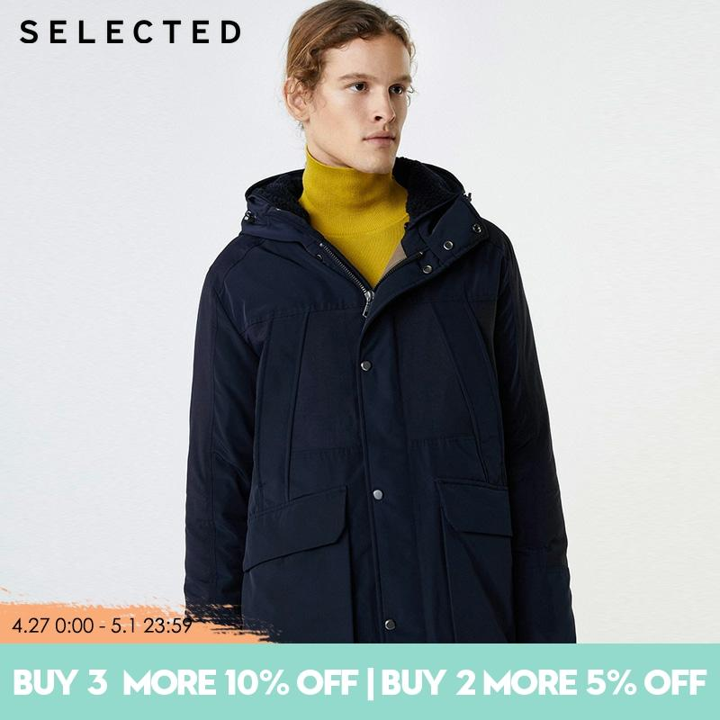 SELECTED Men's Mid-length Pure Color Hooded Duck Down Jacket | 419412550