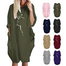 Hooded-Dress Cat Women Sweatshirt Pocket Roll-Up-Sleeve Oversize Ear Print Bluza Long