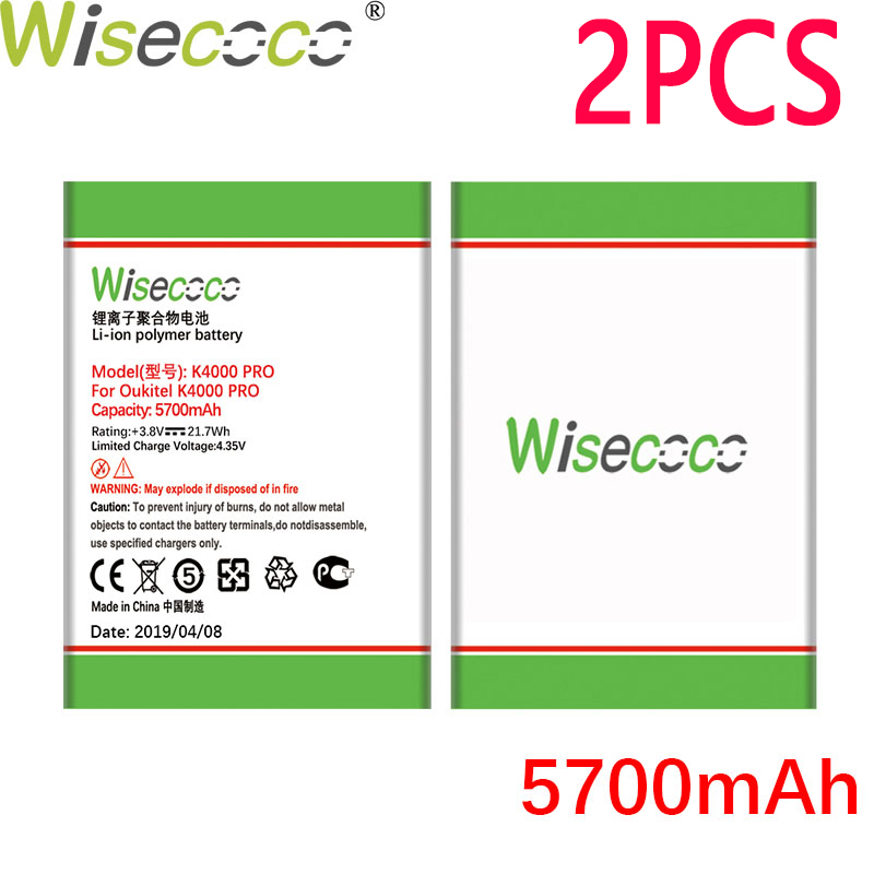 WISECOCO 2PCS 5700mAh Battery For <font><b>Oukitel</b></font> <font><b>K4000</b></font> Pro Mobile Phone In Stock Latest Production High Quality Battery+Tracking Number image
