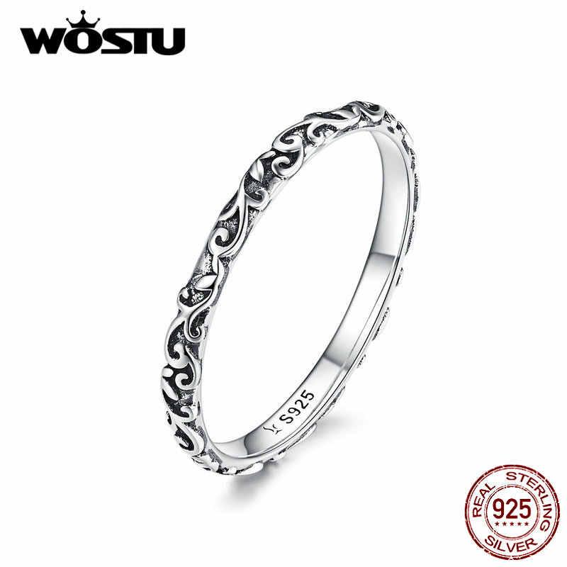 WOSTU מינימליסטי פרח טבעת 925 כסף סטרלינג עדין טבעות אצבע לנשים חתונה כסף 925 טבעת תכשיטים CQR513