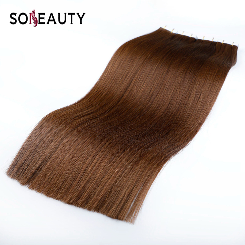 Sobeauty Invisible Tape Hair Extensions Human Hair Skin Weft Hair Extensions Double Drawn Human Hair Dark Brown Color14-20inch