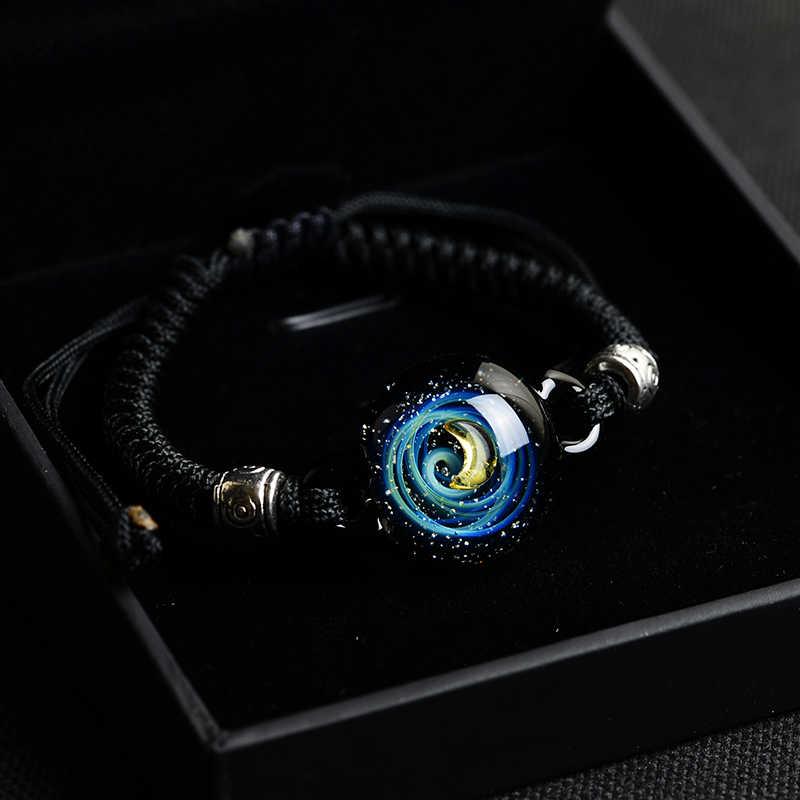 BOEYCJR, горячая Распродажа, Вселенная, планеты, стеклянные браслеты из бисера и браслеты, модные ювелирные изделия, галактика, солнечная система, браслет для женщин, Рождество