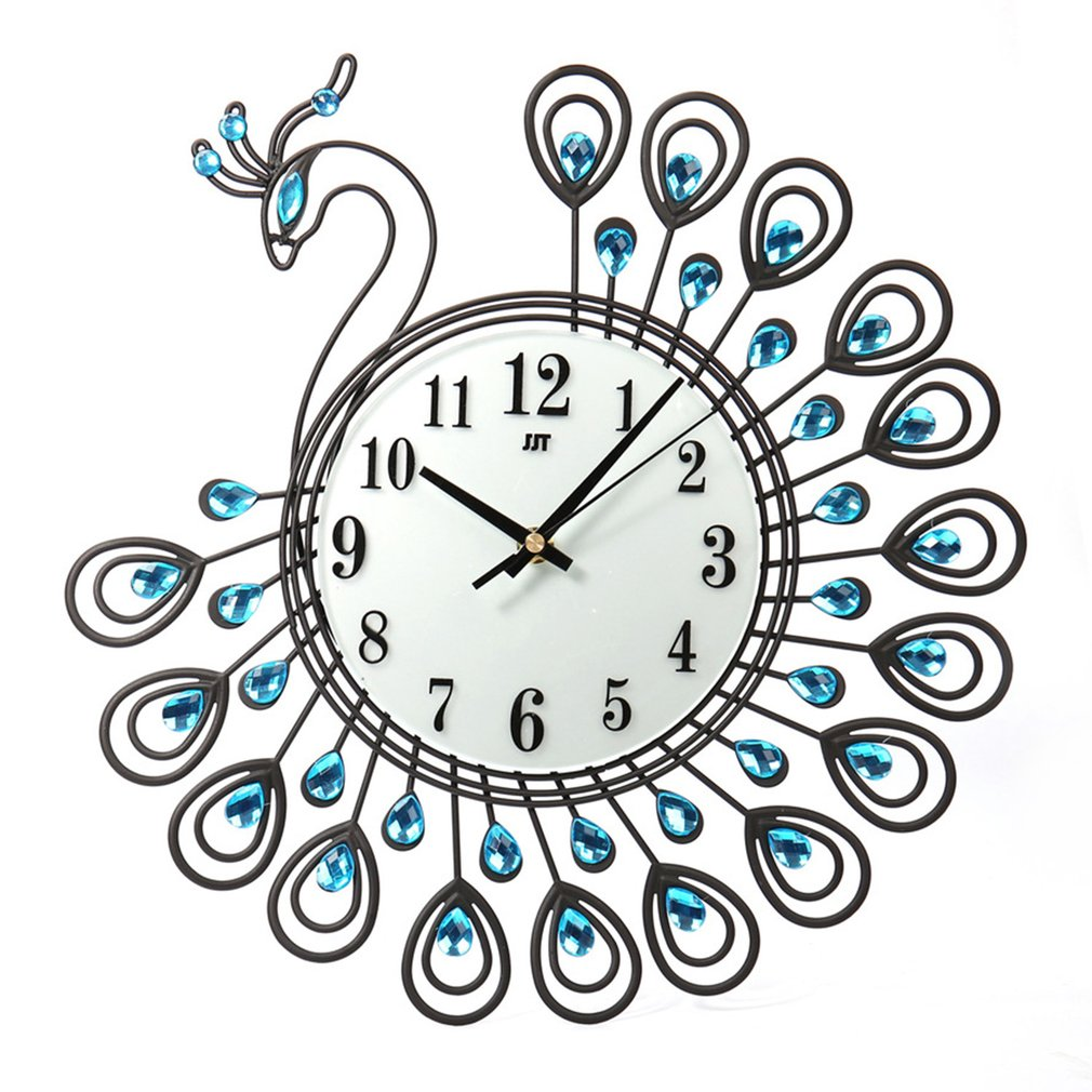 Peacock Shape Silent Living Room Clock European Style Quartz Movement Home Office Wall Clock Decorative Clock