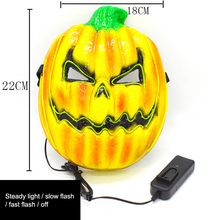 Halloween Luminous Pumpkin Mask EL Wire Flashing Cosplay LED Scary Glowing For Costume Party Festival Supplies