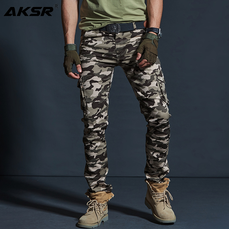 AKSR Men's Large Size Flexible Camouflage Cargo Pants Pockets Military Tactical Pants Trousers Joggers Track Pants Overalls Men