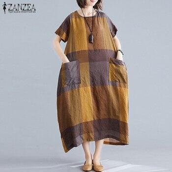 ZANZEA модные женские туфли в клетку летнее платье сарафан с короткими рукавами макси Vestidos женские повседневные платья размера плюс с круглым вырезом плед халат 2