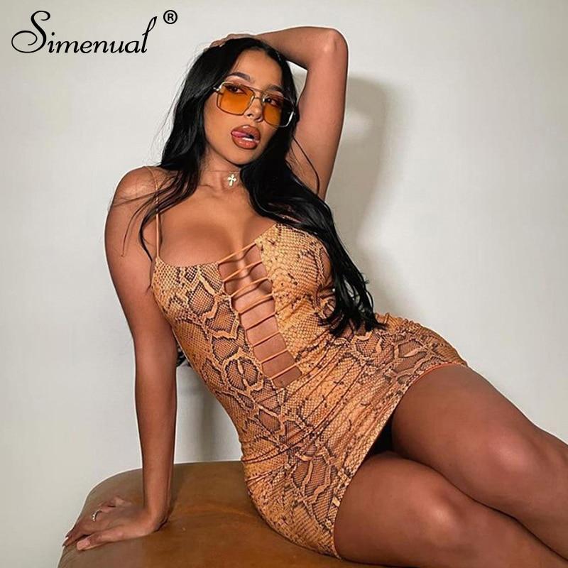Simenual-Vestido corto sexi de fiesta para mujer, vestidos con correa y escote en V profundo, ropa de fiesta para discoteca, 2021