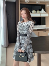 2019 autumn and winter models Japanese style new mesh embroidery sequins layer cake dress