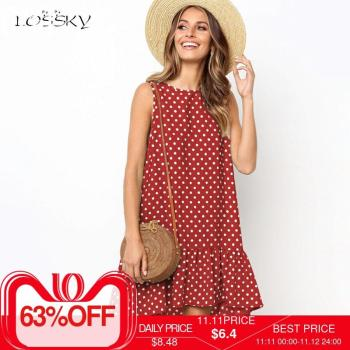 Lossky Women Summer Dress Polka Dot Chiffon Sleeveless Beach Mini Casual Yellow Sundress 2020 Fashion Plus Size Dress For Women 1