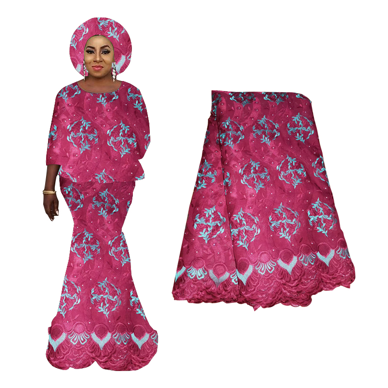 African Lace High Quality 2019 Nigerian Beaded Lace Fabric 100% Polyester Embroidered French Tulle Lace Fabric For Woman Dress