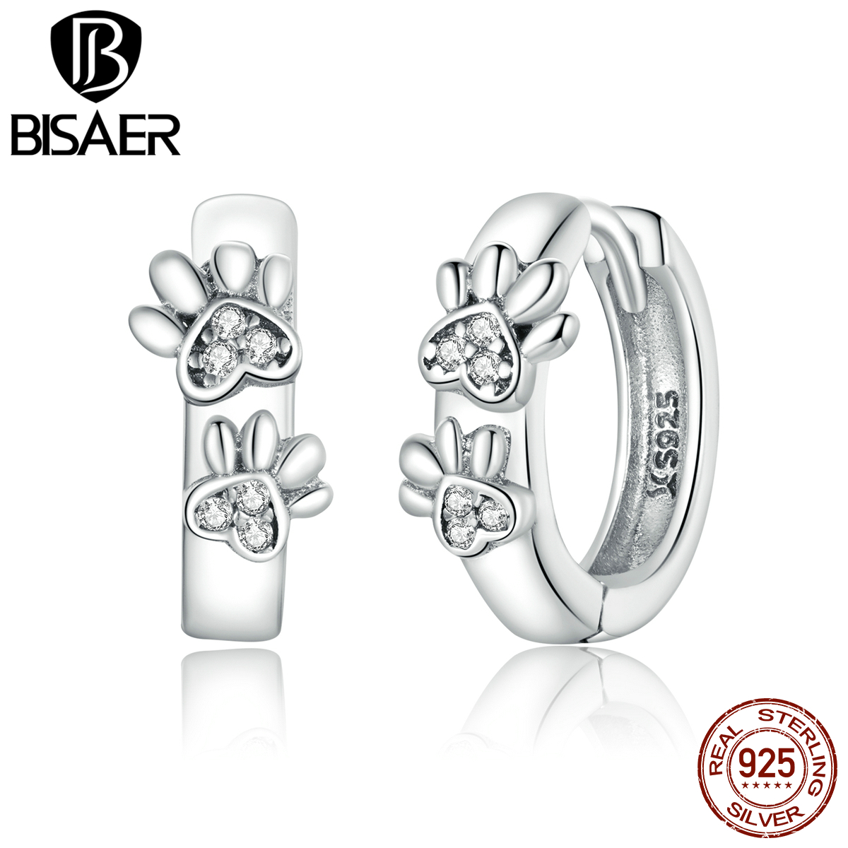 BISAER Cute Paw Print 925 Sterling Silver Dog Print Stud Earrings for Women Round Circle Star Women Jewelry Brincos ECE938