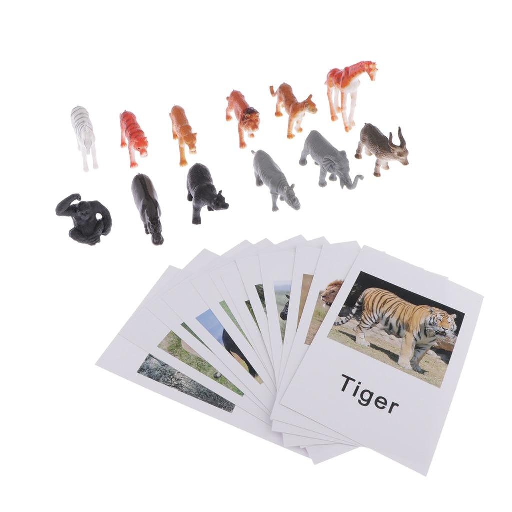 Montessori cartas de jogo de animais selvagens, estatuetas e jogos de correspondência, aprendizagem, materiais de linguagem
