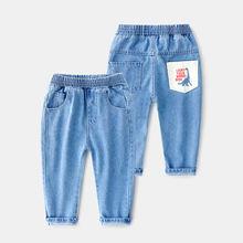 Весенние джинсы для маленьких мальчиков и девочек детская одежда