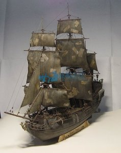 Image 1 - 1 / 96scale Pirates of The Caribbean Black Pearl Simulation Wooden Sail DIY Boat Model Kit Handmade Adult Toy Gift  Home Decor