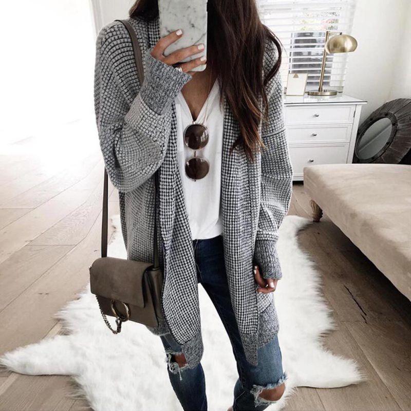 OEAK New Arrival 2019 Autumn Winter Wool Blends Fashion Pure Long Cardigan Coat Casual Slim Long Sleeve Women Knitted Cardigan