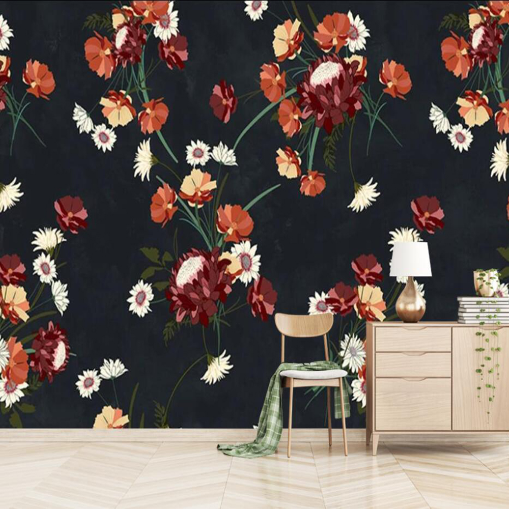 Drop Shipping Custom Large 3D Wallpaper Murals Simple Hand-painted Flowers And Birds Tooling Wall Decoration Wallpaper Murals