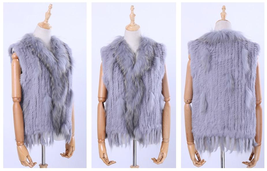 H851ac9a747ce47aeb2dde7a27322d7day Brand New Women's Lady Genuine Real Knitted Rabbit Fur Vests tassels Raccoon Fur Trimming Collar Waistcoat Fur Sleeveless Gilet