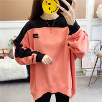 Autumn fat mm200jin large women's top color contrast pasted thin sweater for female students Korean wide charge