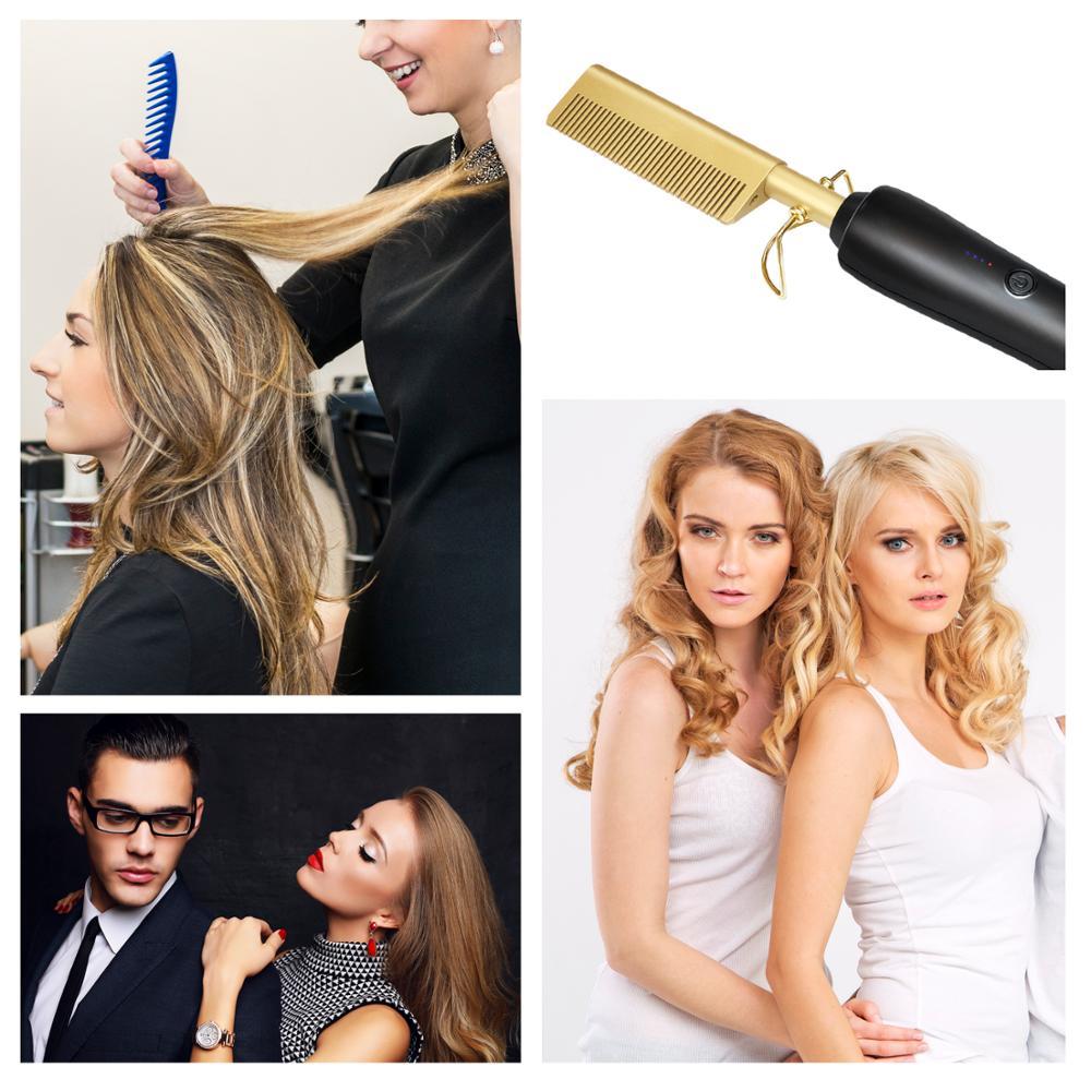 2 In 1 Titanium Alloy Hair Straightener & Curls Comb Flat Iron Styling Hair Curling Iron Heating Beard Straightener Hot Comb