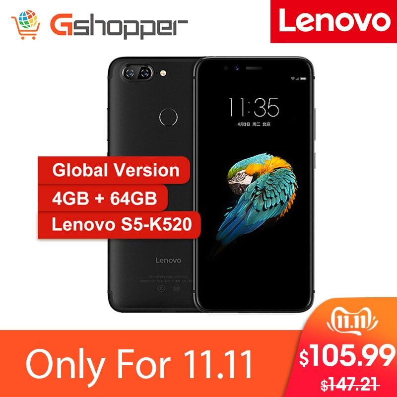 Version mondiale Lenovo S5 K520 Smartphone 4 go RAM 64 go ROM Snapdragon 625 Octa Core téléphone portable 5.7 double caméra arrière 13MP