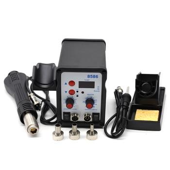Plancha de soldadura eléctrica con pantalla Digital 8586 + pistola de calor de aire caliente DIY mejor estación de retrabajo SMD BGA 8858 858D 8018LCD