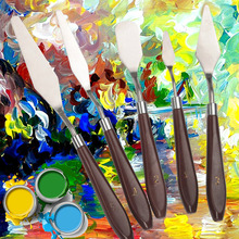 Oil Painting Knife Stainless Steel Oil Color Scraper Palette Art Supplies Painting Tools 5 sizes artist palette tanie tanio Metal 8 lat 01-05 Single Branch No 1
