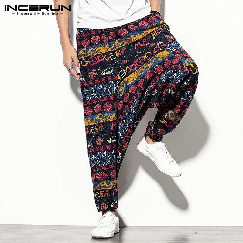 Men Harem Pants Printed Elastic Waist Joggers Vintage Streetwear Baggy Drop-crotch Trousers Men Casual Wide Leg Pants INCERUN 7