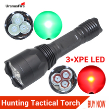 XPE LED Hunting Flashlight 1 Mode Tactical Torch 18650 Waterproof Lantern Lamp Red Green Light Fishing Spotlight Torches x yshine portable tactical cree xml xpe led military flashlight green light for hunting fishing