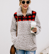 Women's Long Sleeve Fuzzy Fleece Sweatshirt Casual Loose Outwear clothes with Pockets D1 fuzzy patches lantern sleeve loose sweatshirt
