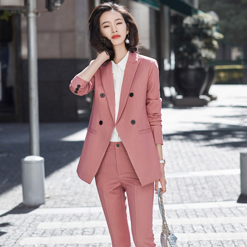 2020 New Business Wear For Spring Autumn Office Lady Korean-Style Slim-fit Suit Blue Suit Women Pants Suits Set For Work