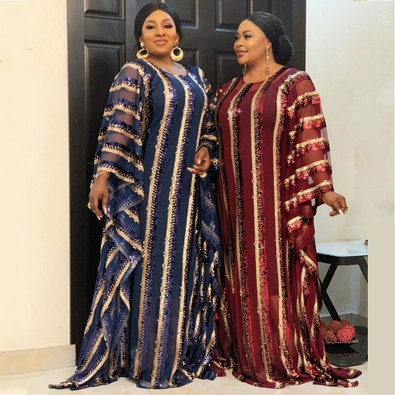 Super Size New African Women's Sequins Dashiki Fashion Loose Embroidery Long Dress African Maxi Dress For Women African Clothes