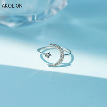 Handmade Silver Color Moon star shape Adjustable Ring 925 Original zircon Stone Engagement Wedding  Ring For women Jewelry Gift cuteeco hight quality silver color lovely bee adjustable ring for women original pan finger ring jewelry engagement gift