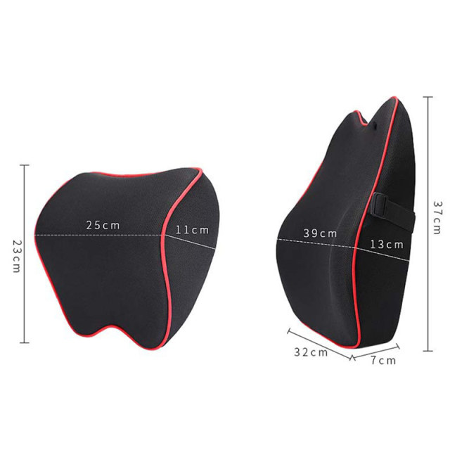 Car Seat Lumbar Support Pillow Cushion Back Pillow Memory Cotton Lumbar Support For Office Chair Cushion For Car Auto 2