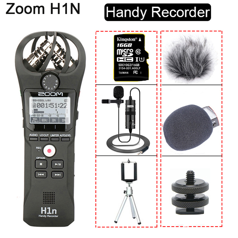 Microphone Audio Handy-Recorder Interview-Stereo Zoom H1n BY-M1 DSLR with 16GB-CARD Lavalier