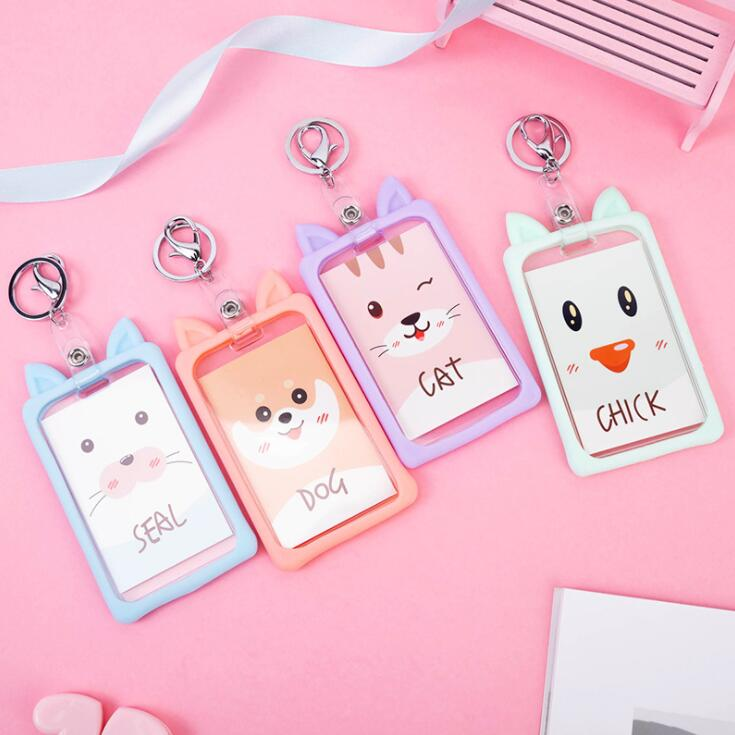 New 1PC Kawaii Cartoon Cat Dog ID Credit Card Holder Bus Bank Card Protective Case Students ID Cards Keychain School Stationery
