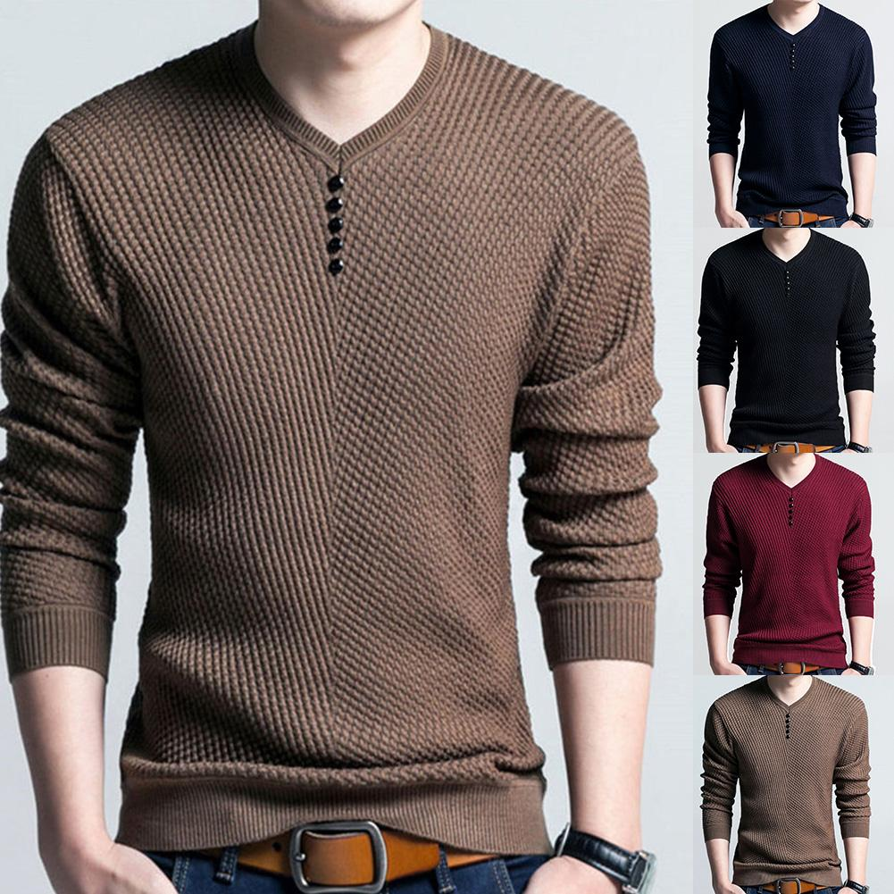 Chic Men Pullovers Solid Color V Neck Long Sleeve Pullover Slim- Fit Knitted Sweater Blouse 4