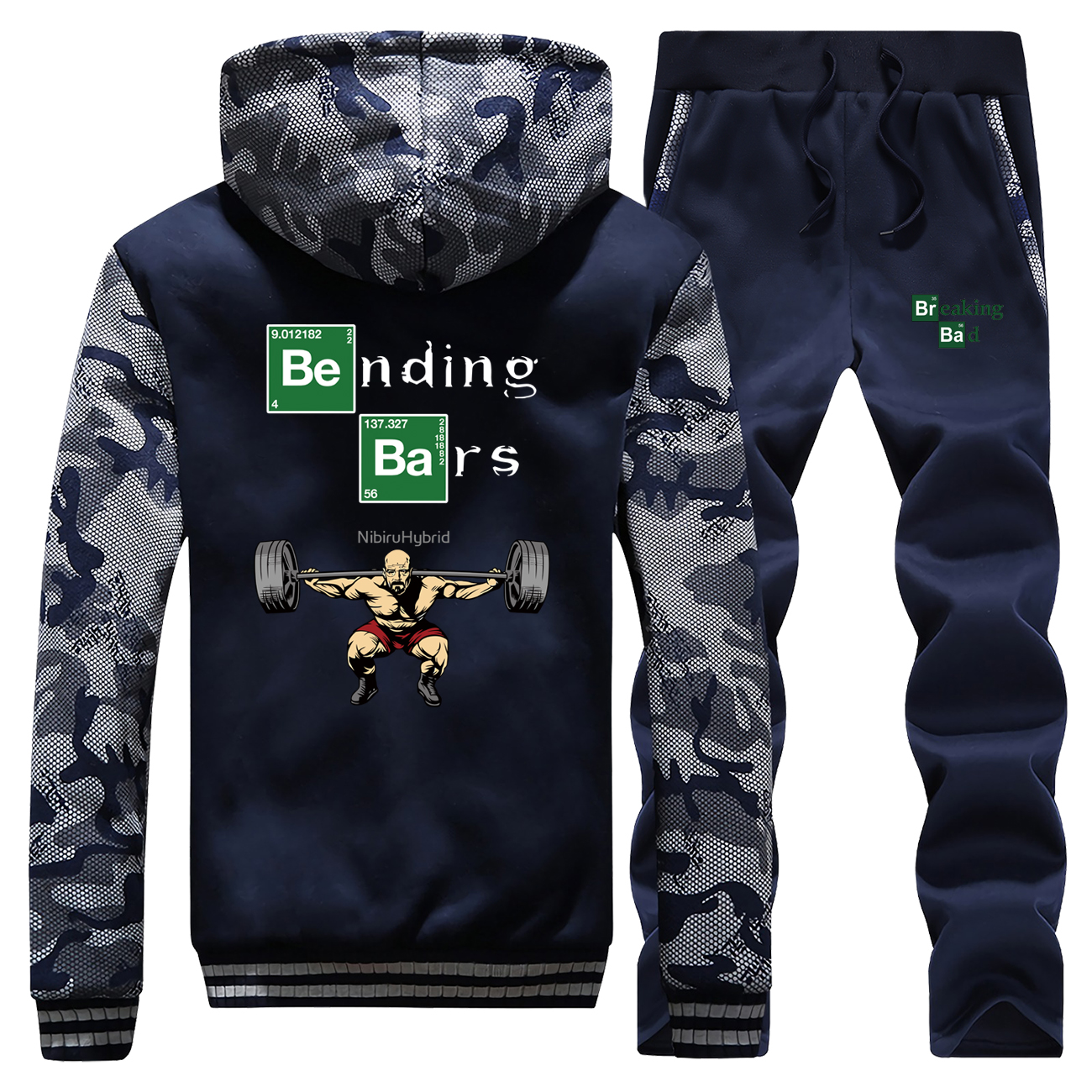 New Mens Hoodie Casual Coat Thick Breaking Bad Printed Funny Sets Men Pant Suit Camouflage Sportswear Jackets+Pants 2 Piece Set