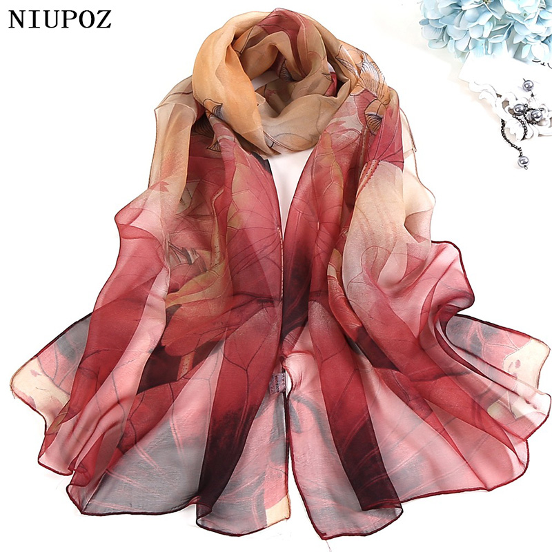 Multiple Colour Gradient Color Rose Flower Chiffon Georgette Scarf Women Foulard Lotus Leaf Long Shawl Summer Bandana Elegant