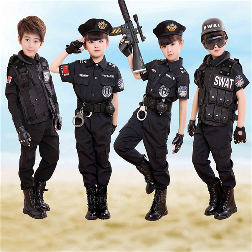 Traffic Police Cop Cosplay Costumes For Toddler Boys Halloween Carnival Fancy Military Unform Birthday Gift