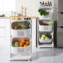 Multi-Layer Wheeled Fruit Baskets Kitchen Food Storage Organizer Removable Room Organizers Home Accessories Organization