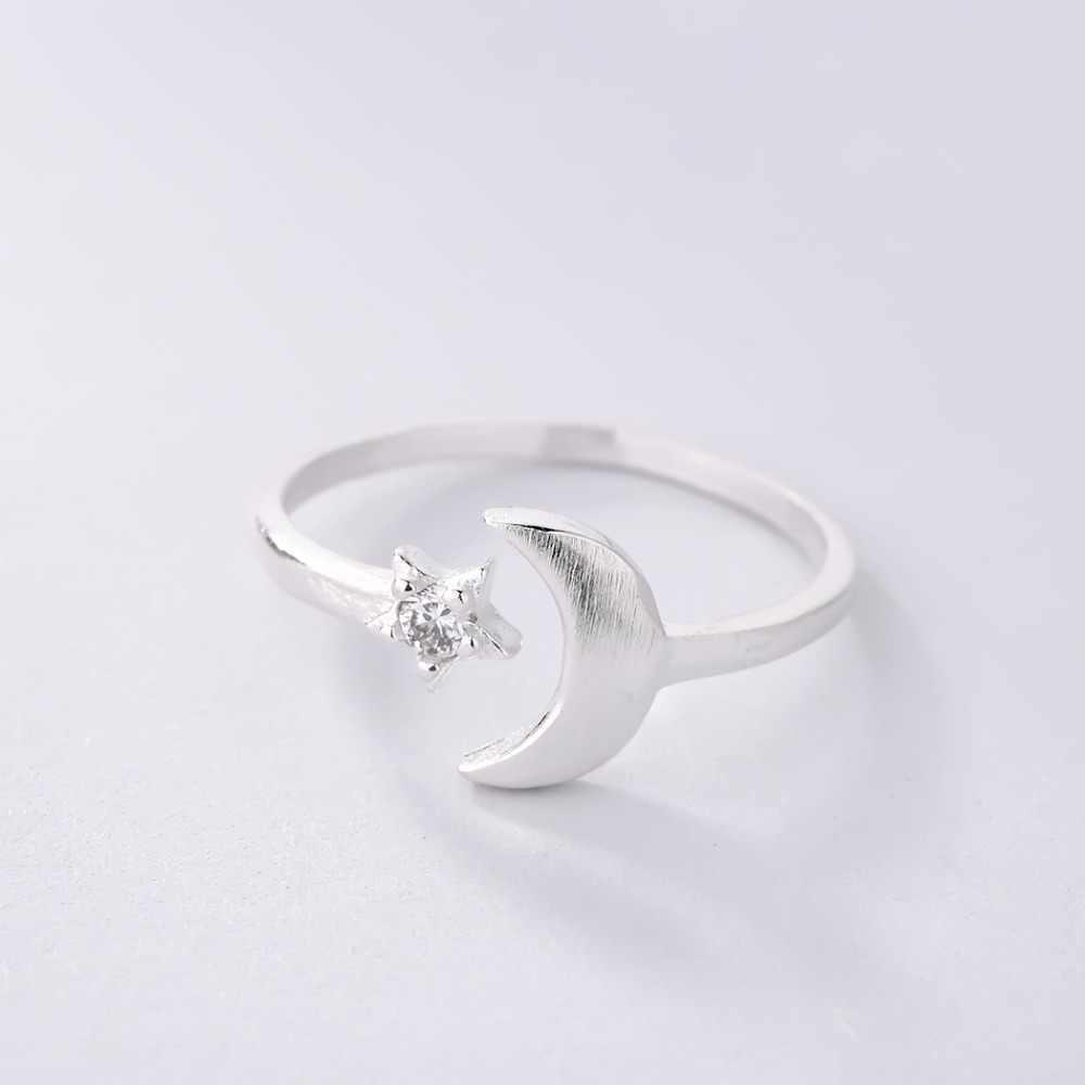 Сияющие лунные серебряные кольца с кристаллами звезда разомкнутое кольцо с цирконом Женская Девушка Вечерние Рождественский подарок минималистические корейские украшения Аксессуары