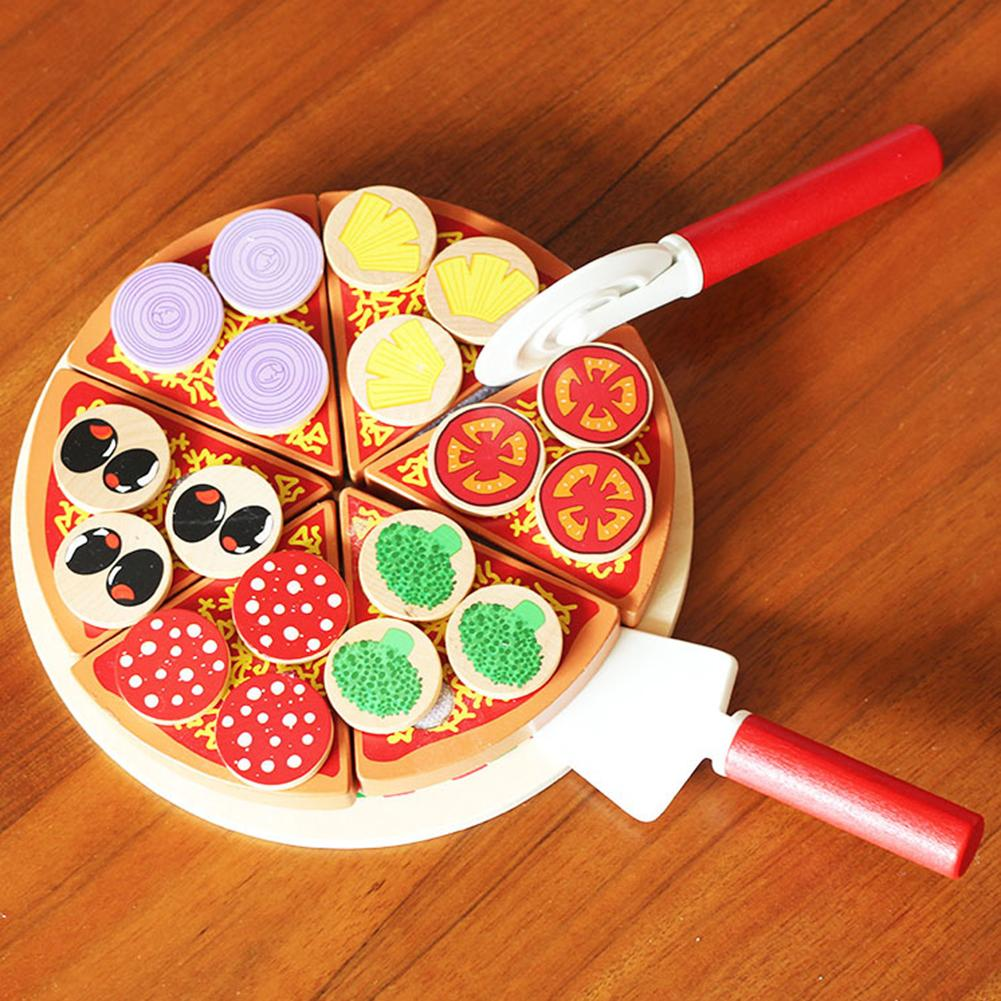 27Pcs  Improves Imagination Creativity Interactio. Wooden Pizza Fruit Slices Cutting Tableware Kitchen Pretend Play Kids Toy