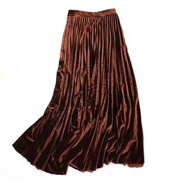 Pleated Skirt Elastic Waist Women Winter Pleated Skirts 2020 High Waisted Pleated Black Plus Maxi Mini Women Skirt Midi II50BSQ фото
