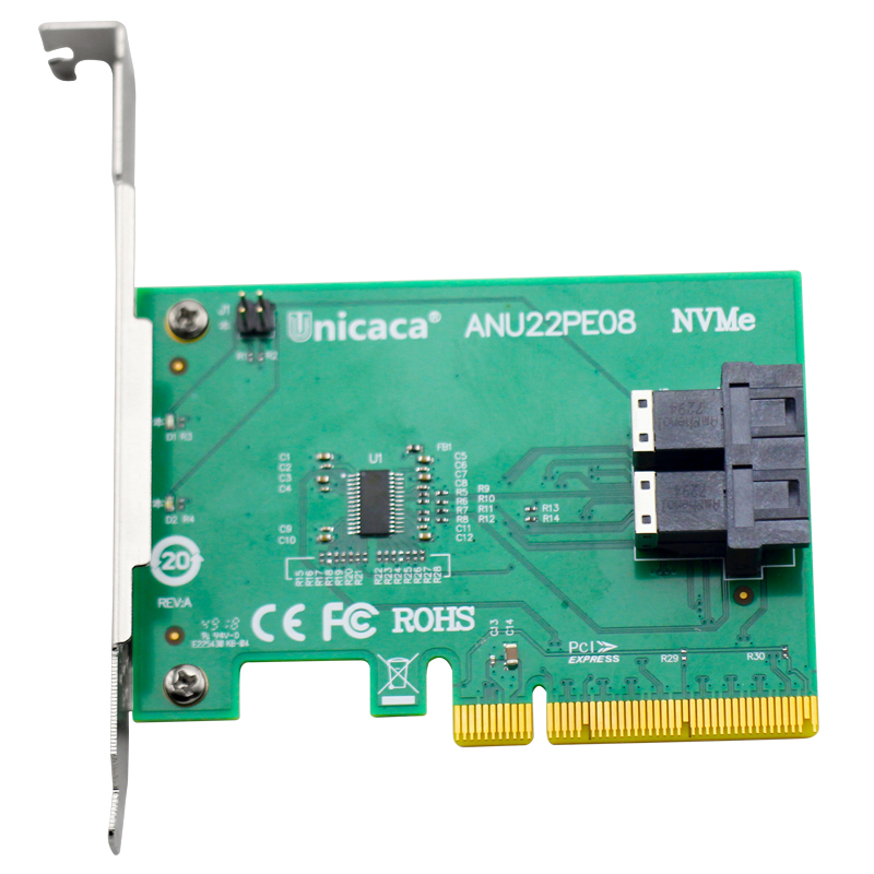 UNICACA ANU22PE08 SFF8643*2 PCIe3.0 X8 12Gb/s U.2 exp rise adapter (support nvme device ) with cable*1-in Add On Cards from Computer & Office
