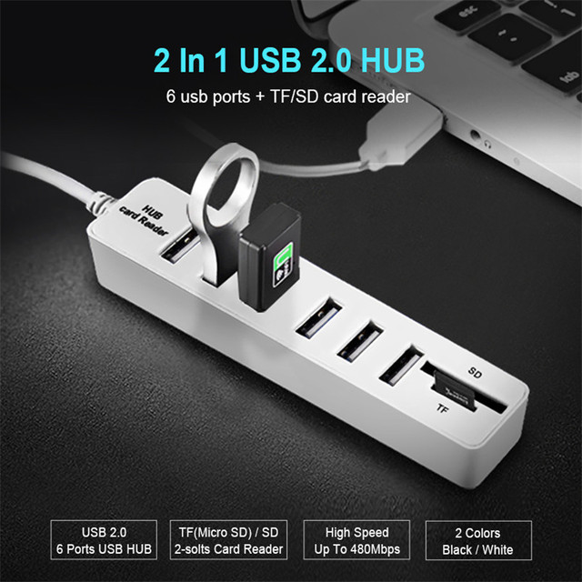 USB Hub 3,0 Multi USB Splitter 2,0 USB 3,0 Hub 3 / 6 puertos Hab Micro TF/SD lector de tarjetas de alta velocidad Accesorios de ordenador para PC