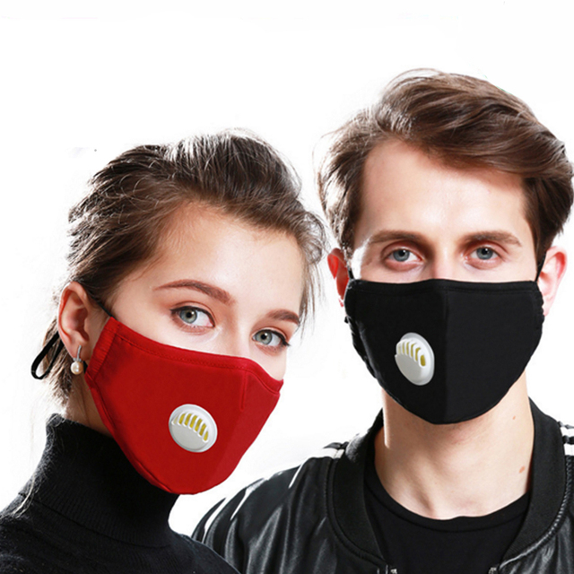 Tcare Fashion Face Mask Unisex Cotton Breath Valve PM2.5 Mouth Mask Activated carbon filter respirator Mouth-muffle 5